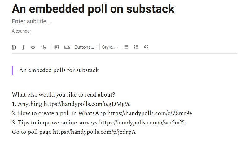 Embedded poll in a substack newsletter